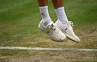 3rd July 2021; Wimbledon, SW London. England; Wimbledon Tennis Championships, day 6;  The tennis shoes of Roger Federer , Switzerland