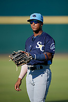 Charlotte Stone Crabs Wander Franco (1) during warmups before a Florida State League game against the Bradenton Marauders on July 30, 2019 at LECOM Park in Bradenton, Florida.  Charlotte defeated Bradenton 5-0.  (Mike Janes/Four Seam Images)