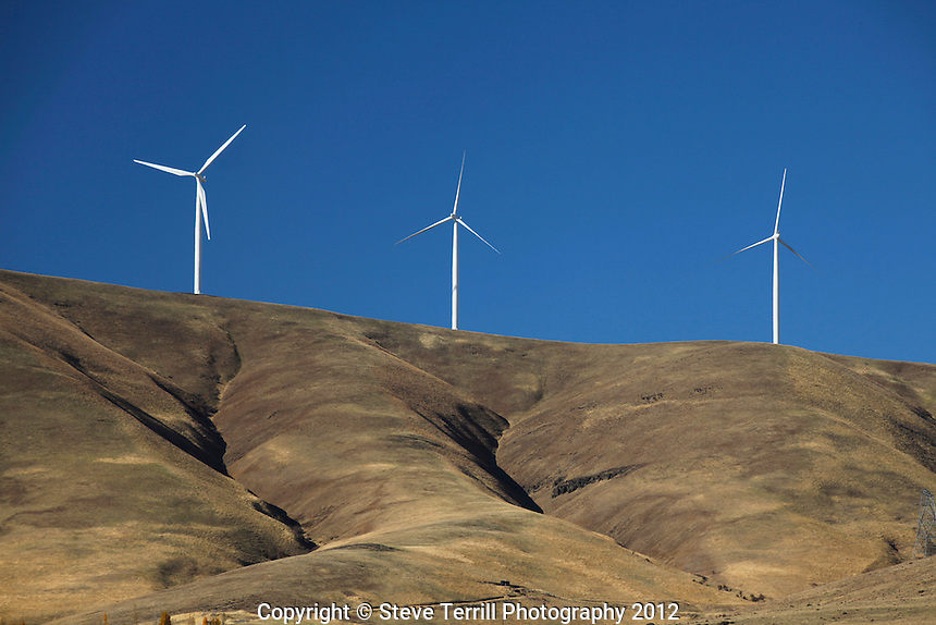 Windmills on hills in eastern Columbia River Gorge, Washington