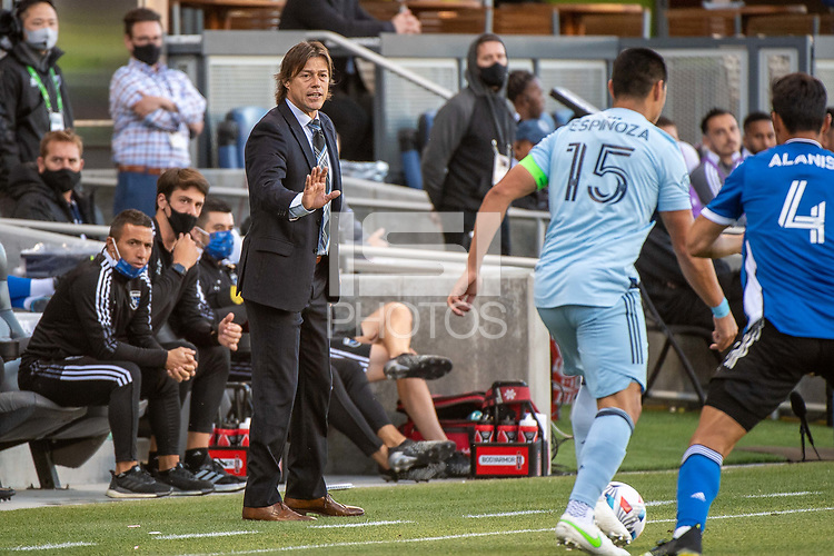 SAN JOSE, CA - MAY 22: Matias Almeyda Head Coach of the San Jose Earthquakes directs the team during a game between San Jose Earthquakes and Sporting Kansas City at PayPal Park on May 22, 2021 in San Jose, California.