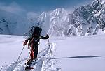 Alaska, Denali National Park, Ski Climbers, Southeast Buttress, Denali, telemark skiing, Ruth Glacier, Don Sheldon Ampitheatre, Amphitheater, Alaska Range, Alaska, U.S.A., North America, Mike Allison, model released,.