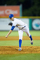 Burlington Royals relief pitcher Michael Messier (17) follows through on his delivery against the Danville Braves at Burlington Athletic Stadium on August 15, 2017 in Burlington, North Carolina.  The Royals defeated the Braves 6-2.  (Brian Westerholt/Four Seam Images)