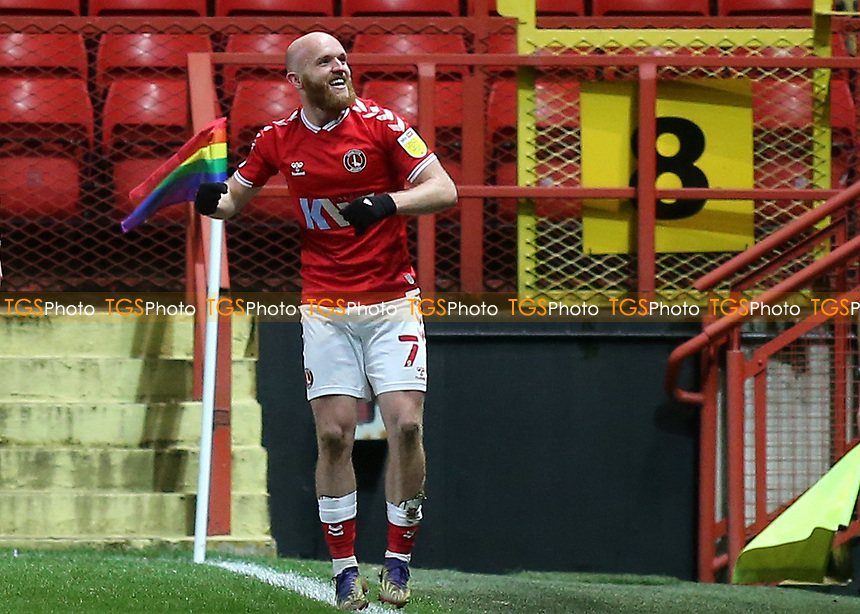 Jonny Williams celebrates scoring Charlton's third goal during Charlton Athletic vs AFC Wimbledon, Sky Bet EFL League 1 Football at The Valley on 12th December 2020