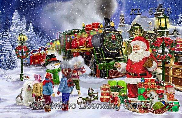 Interlitho-Franco, CHRISTMAS SANTA, SNOWMAN, WEIHNACHTSMÄNNER, SCHNEEMÄNNER, PAPÁ NOEL, MUÑECOS DE NIEVE, paintings+++++,santa, train,KL6175,#x#