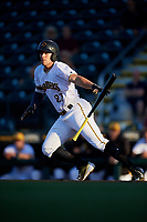 Bradenton Marauders center fielder Casey Hughston (27) runs to first base during a game against the Tampa Tarpons on April 25, 2018 at LECOM Park in Bradenton, Florida.  Tampa defeated Bradenton 7-3.  (Mike Janes/Four Seam Images)