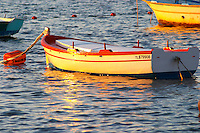 Typical Provencal fishing boats painted in bright colours white, blue, green red yellow, moored at a buoy at sunset Le Brusc Six Fours Var Cote d'Azur France