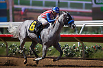 DEL MAR,CA-SEPTEMBER 05: Power Jam #6,ridden by Stewart Elliott,wins the Pirate's Bounty Stakes at Del Mar Race Track on September 05,2016 in Del Mar,California (Photo by Kaz Ishida/Eclipse Sportswire/Getty Images)