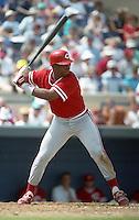 Cincinnati Reds Randy Milligan (19) during Spring Training 1993 at Joker Marchant Stadium in Lakeland, Florida.  (MJA/Four Seam Images)