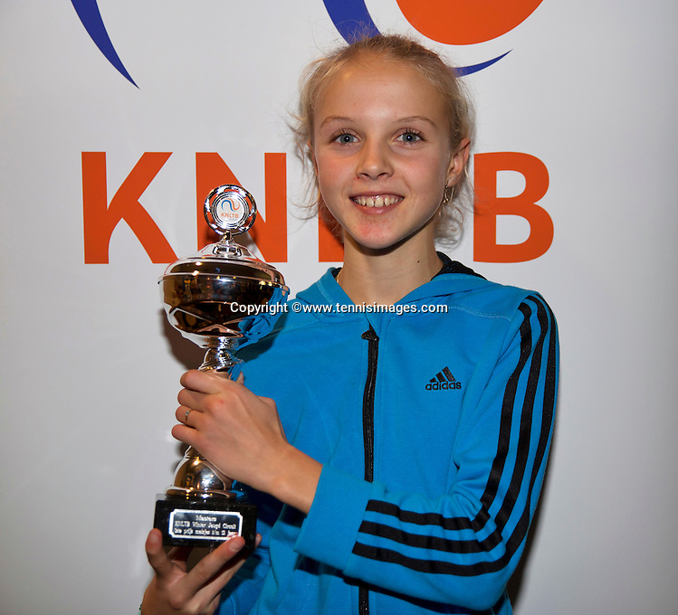 Almere, Netherlands, December 6, 2015, Winter Youth Circuit, Overall winner of the circuit winner girls 12 years:  Joelle Steur with the trophy<br /> Photo: Tennisimages/Henk Koster