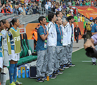 Fifa Women's World Cup Germany 2011 : Brazil - Australia  at Borussia - Park in Munchengladbach : Brazilian bench at the Hymn. coach Kleiton Lima in front.foto DAVID CATRY / Vrouwenteam.be