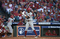Christian Franklin (25) of the Arkansas Razorbacks at bat against the Oklahoma Sooners in game two of the 2020 Shriners Hospitals for Children College Classic at Minute Maid Park on February 28, 2020 in Houston, Texas. The Sooners defeated the Razorbacks 6-3. (Brian Westerholt/Four Seam Images)