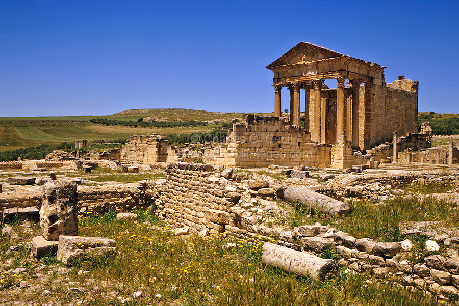 Tunisia, Dougga.  Roman Ruins.  The Capitol.  166 A.D.