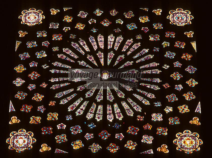 Europe/France/Auvergne/63/Puy-de-Dôme/Clermont-Ferrand: La cathédrale Notre-Dame-de-l'Assomption (Architecture gothique) - Détail rosace nord