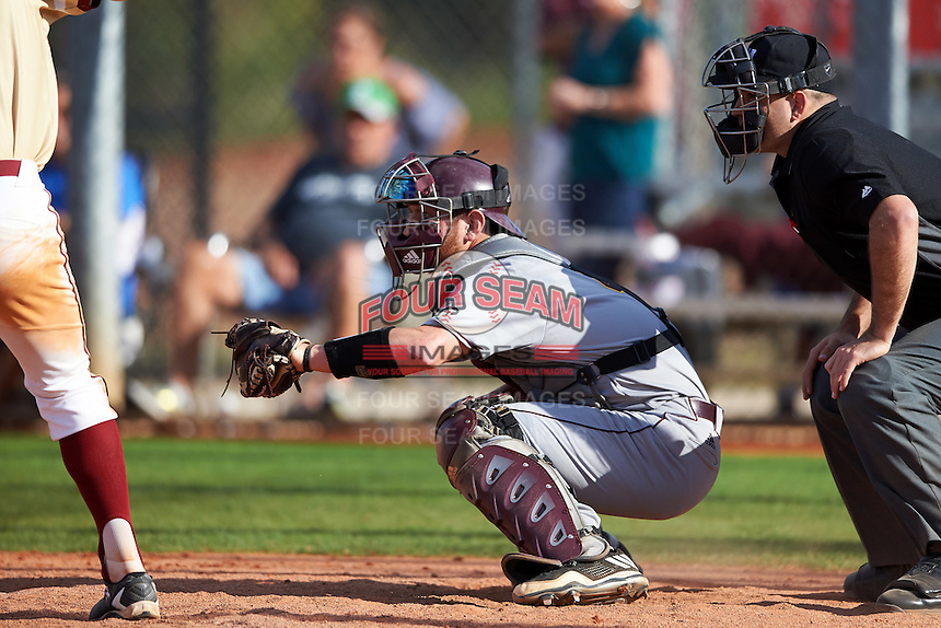 Central Michigan Chippewas catcher Blake Cleveland (4) and umpire Zach Tieche await the pitch during a game against the Boston College Eagles on March 3, 2017 at North Charlotte Regional Park in Port Charlotte, Florida.  Boston College defeated Central Michigan 5-4.  (Mike Janes/Four Seam Images)