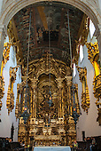 Olinda, Pernambuco State, Brazil. Sao Bento Monastery. Gold altar and painted ceiling.