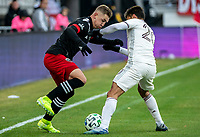 WASHINGTON, DC - FEBRUARY 29: Russell Canouse #4 of DC United clashes with Nicolás Mezquida #20 of the Colorado Rapids during a game between Colorado Rapids and D.C. United at Audi Field on February 29, 2020 in Washington, DC.
