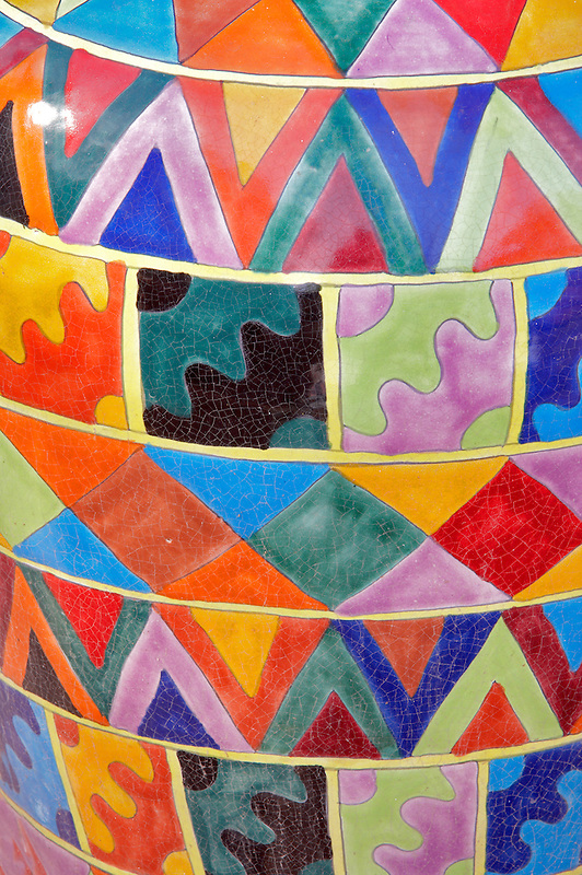 Close up of colorful pots. Tubac. Arizona