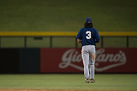 AZL Brewers center fielder Micah Bello (3) jogs onto the field between innings of an Arizona League game against the AZL Cubs 1 at Sloan Park on June 29, 2018 in Mesa, Arizona. The AZL Cubs 1 defeated the AZL Brewers 7-1. (Zachary Lucy/Four Seam Images)