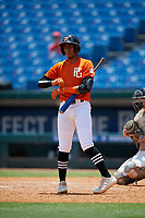 Randal Diaz-Morales (7) of Leadership Christian Academy in Toa Alta, PR during the Perfect Game National Showcase at Hoover Metropolitan Stadium on June 19, 2020 in Hoover, Alabama. (Mike Janes/Four Seam Images)