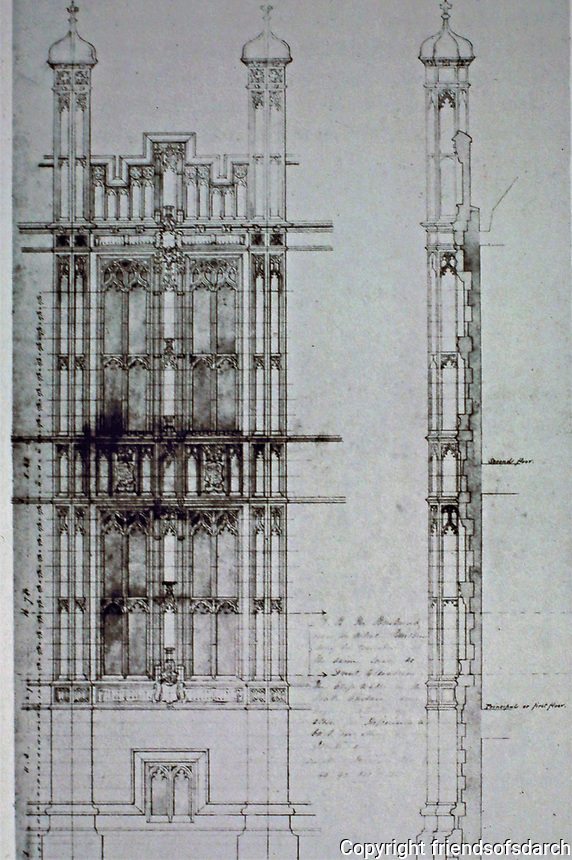 Pugin and Barry. Houses of Parliament. Elevation drawing, 1836.<br /> London.