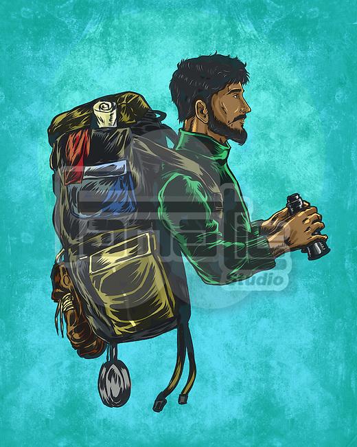 Illustrative image of male backpacker representing trekking against blue background