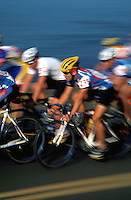 Blurred motion image of a bicycle race.