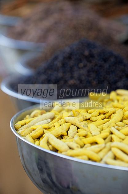 Asie/Inde/Rajasthan/Udaipur: Marché Mandi - Détail étal épice et racines de curcuma