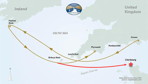 Fastnet Race course as it has been 1949-2019 (gold line), with the planned new finish to Cherbourg (red).