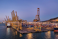 Shipping terminal for export and import cargo containers, Barcelona, Spain.