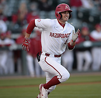 Arkansas Thursday, April 1, 2021, during the inning of play against Auburn at Baum-Walker Stadium in Fayetteville. Visit nwaonline.com/210402Daily/ for today's photo gallery. <br /> (NWA Democrat-Gazette/Andy Shupe)