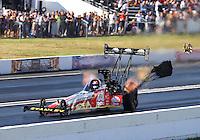 Jun 6, 2015; Englishtown, NJ, USA; NHRA top fuel driver Doug Kalitta  during qualifying for the Summernationals at Old Bridge Township Raceway Park. Mandatory Credit: Mark J. Rebilas-