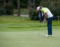 23.05.2015. Wentworth, England. BMW PGA Golf Championship. Round 3.  Tommy Fleetwood [ENG] putts on the 6th green during the third round of the 2015 BMW PGA Championship from The West Course Wentworth Golf Club