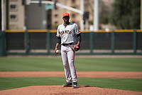 San Francisco Giants relief pitcher Wilson Santos (48) during a Minor League Spring Training game against the Cleveland Indians at the San Francisco Giants Training Complex on March 14, 2018 in Scottsdale, Arizona. (Zachary Lucy/Four Seam Images)