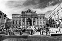 A general view of almost desert Trevi fountain during Italy's lockdown due to Covid-19 pandemic. <br /> On May 4th will start the phase 2 of the measures against pandemic, adopted by Italian government, that will allow some construction and factory workers to go back to work . <br /> Rome 30/04/2020 <br /> Photo Andrea Staccioli Insidefoto
