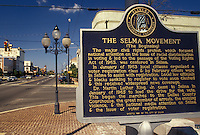 Selma, civil rights, Alabama, AL, The Selma Movement sign next to the Edmund pettus Bridge famous for the Selma-to-Montgomery voting rights march lead by Martin Luther King Jr. in Selma.