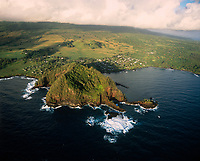 Hana Town, Aerial View, Maui, Hawaii, USA.