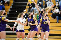 DeForest celebrates a point, as DeForest tops Waunakee 3 sets to 1 in Wisconsin WIAA girls high school volleyball regional finals on Saturday, Apr. 10, 2021 at DeForest High School