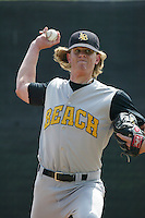 Jered Weaver of the Cal State Long Beach Dirtbags pitches during a 2004 season game against the Cal State Northridge Matadors at Cal State Northridge in Northridge, California. (Larry Goren/Four Seam Images)
