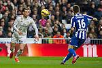 Real Madrid´s Gareth Bale and Deportivo de la Coruna's Luisinho during 2014-15 La Liga match between Real Madrid and Deportivo de la Coruna at Santiago Bernabeu stadium in Madrid, Spain. February 14, 2015. (ALTERPHOTOS/Luis Fernandez)