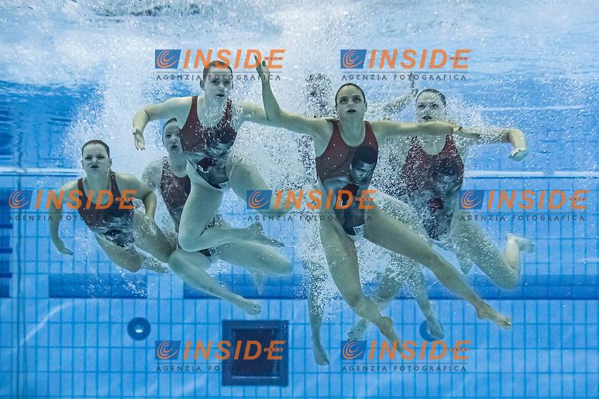 Team Great Britain<br /> Artistic swimming team free <br /> Duna Arena, Budapest 14/05/2021 <br /> Budapest/Hungary<br /> Photo © A. Kovacs/Deepbluemedia/Insidefoto