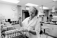 Usa. Utah. Tooele county. Deseret chemical depot. A woman, lab technician, checks and measures the amount of chemical warfare agent in the air. Tooele chemical agent disposal facility (TOCDF). Program for destruction of chemical weapons and agent. Incinerating plant. Deseret chemical depot is distant 100 km from Salt Lake City. The Deseret Chemical Depot is one of eight Army installations in the U.S. that currently store chemical weapons. The weapons originally stored at the depot consisted of various munitions and ton containers, containing GB and VX nerve agents or H, HD, and HT blister agent. The Tooele Chemical Agent Disposal Facility is designed for the sole purpose of destroying the chemical weapons stockpile located at the depot. © 1998 Didier Ruef