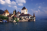 castle, Switzerland, Berne, Bern, Thunersee, Schloss Oberhofen along Lake Thun in the town of Oberhofen in the Bernese Oberland.