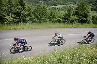 yellow jersey / GC leader Richie Porte (AUS/Ineos Grenadiers) coming down the Côte d'Héry-sur-Ugine (2Cat/962m/10km@5%)<br /> <br /> 73rd Critérium du Dauphiné 2021 (2.UWT)<br /> Stage 8 (Final) from La Léchère-Les-Bains to Les Gets (147km)<br /> <br /> ©kramon