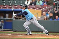 Colorado Springs Sky Sox first baseman Ji-Man Choi (45)swings at a pitch against the Omaha Storm Chasers at Werner Park on April 5, 2018 in Omaha, Nebraska. The Sky Sox won 3-1.  (Dennis Hubbard/Four Seam Images)