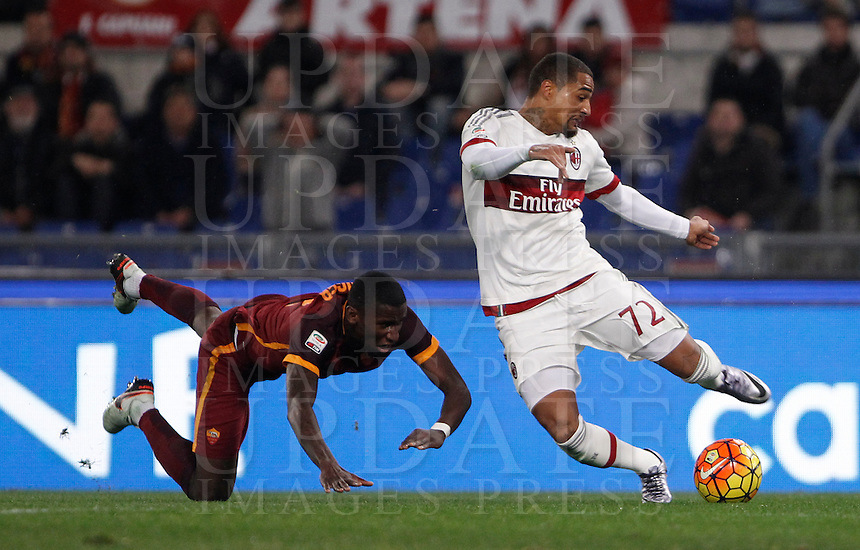 Calcio, Serie A: Roma vs Milan. Roma, stadio Olimpico, 9 gennaio 2016.<br /> AC Milan's Kevin-Prince Boateng, right, is chased by Roma's Antonio Ruediger during the Italian Serie A football match between Roma and Milan at Rome's Olympic stadium, 9 January 2016.<br /> UPDATE IMAGES PRESS/Isabella Bonotto