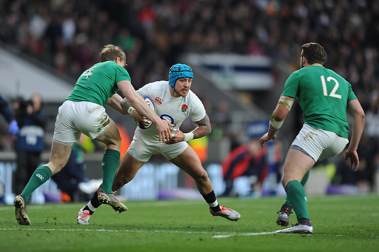 Jack Nowell, FEBRUARY 27, 2016 - Rugby : Jack Nowell of England looks for a way through Andrew Trimble and Stuart McCloskey of Ireland during the RBS 6 Nations match between England and Ireland at Twickenham Stadium, London, United Kingdom. (Photo by Rob Munro)