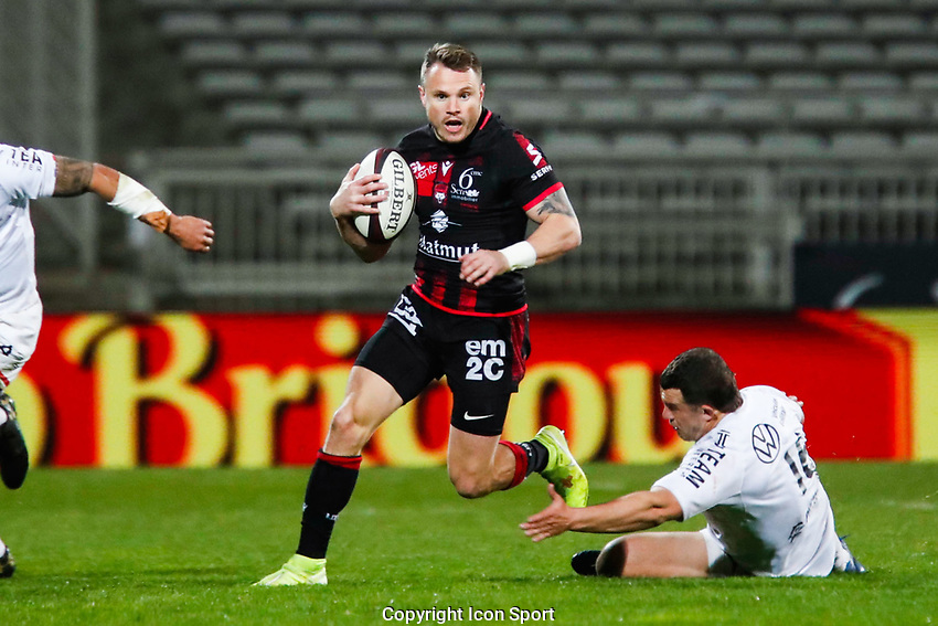 Toby ARNOLD of Lyon and Anthony ETRILLARD of Toulon during the Top 14 match between Lyon OU and RC Toulon at Gerland Stadium on March 27, 2021 in Lyon, France. (Photo by Romain Biard/Icon Sport) - Toby ARNOLD - Anthony ETRILLARD - Stade de Gerland - Lyon (France)