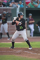 Great Falls Voyagers catcher Gunnar Troutwine (33) at bat during a Pioneer League game against the Idaho Falls Chukars at Melaleuca Field on August 18, 2018 in Idaho Falls, Idaho. The Idaho Falls Chukars defeated the Great Falls Voyagers by a score of 6-5. (Zachary Lucy/Four Seam Images)