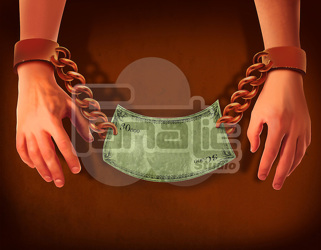 Illustrative image of businessman's hands with handcuffs and bill representing business crime