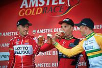 drinking podium:<br /> 1/ Philippe Gilbert (BEL/BMC)<br /> 2/ Jelle Vanendert (BEL/Lotto-Belisol)<br /> 3/ Simon Gerrans (AUS/Orica-GreenEDGE)<br /> <br /> Amstel Gold Race 2014
